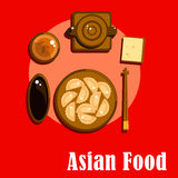Chinese cuisine icons with dumplings and tea Stock Photos