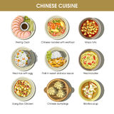 Chinese cuisine menu traditional dishes vector flat icons set Royalty Free Stock Photography