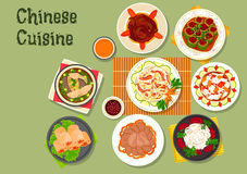 Chinese cuisine restaurant dinner dishes icon Royalty Free Stock Photo