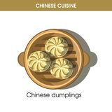 Chinese cuisine meat dumplings traditional dish food vector icon for restaurant menu Stock Image