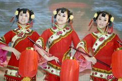 Chinese culture - dancers from Shanxi royalty free stock photos