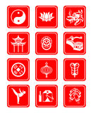 Chinese culture icons. Traditional Chinese culture symbols and objects icon set Royalty Free Stock Photos