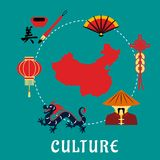 Chinese culture icons around a map Stock Image