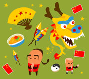 Chinese culture set. Hand drawn Vector illustration Royalty Free Stock Photos
