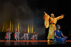 Chinese culture show. This photo is a Chinese Kongfu culture show, which is performed by monks from Shaolin Temple of China, this show's name is Kongfu in the Royalty Free Stock Photography