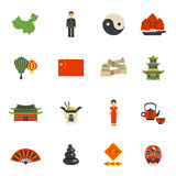 Chinese Culture Symbols Flat Icons Set Royalty Free Stock Photo