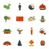 Chinese Culture Symbols Flat Icons Set Royalty Free Stock Photo