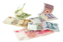 Chinese currencies. Isolated Royalty Free Stock Photography