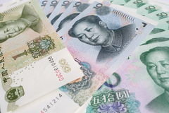 Chinese currency. Montage of Chinese currency notes Royalty Free Stock Photography