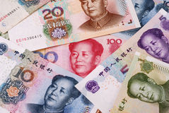 Chinese Currency. A pile of Chinese paper currency in denominations of one to 100 yuan Royalty Free Stock Photography