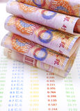 Chinese currency on accounts Royalty Free Stock Photos
