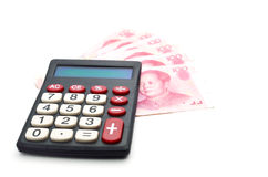 Chinese currency and calculato Stock Images