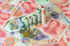 Chinese currency forming a graph Royalty Free Stock Photos