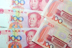 Chinese currency. Money 100 Yuan Coin MaoZeDong Chairman Mao Hundred Pink Royalty Free Stock Image