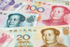 Chinese currency money yuan. Set of chinese currency money yuan renminbi. Close-up Royalty Free Stock Photo