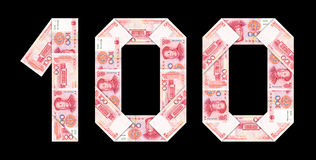 Chinese currency renminbi : 100 yuan isolated Royalty Free Stock Photos