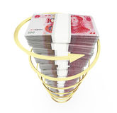 Chinese currency stack Royalty Free Stock Photography