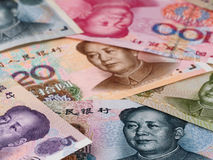 Chinese currency yuan macro background, China economy finance tr Stock Photos