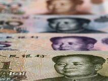 Chinese currency yuan macro background, China economy finance tr Royalty Free Stock Images