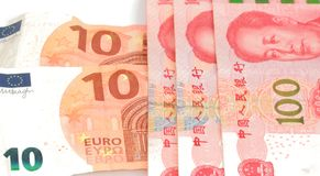 Chinese currency yuan rmb and euro bill Royalty Free Stock Photography