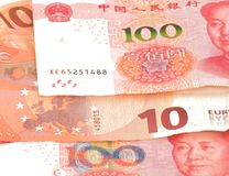 Chinese currency yuan rmb and euro bill Stock Images