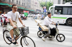 Chinese Cyclists Stock Image