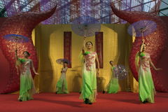 Chinese dance. There are a lot of performance in the Chinese New Year Stock Image