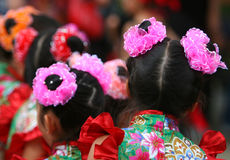 Chinese Dancers. Young Chinese girls in Traditional Costume Stock Images