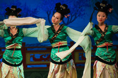 Chinese dancers with long sleeves Stock Images