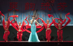 Chinese dancers on stage. Royalty Free Stock Photography
