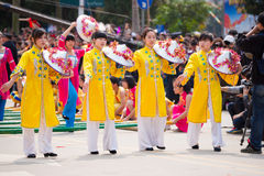 Chinese dancing girl in Zhuang ethnic Festival Royalty Free Stock Photo