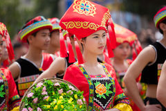 Chinese dancing girl in Zhuang ethnic Festival Stock Photo