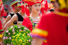 Chinese dancing girl in Zhuang ethnic Festival. March 3rd is the Songs Festival of the Zhuang ethnic in Southwest China.Every year in this day,Zhuang ethnic Royalty Free Stock Images
