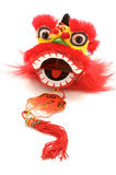 Chinese dancing lion head on white. Royalty Free Stock Photo