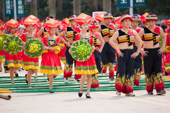 Chinese dancing people in Zhuang ethnic Festival Royalty Free Stock Photos