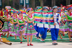 Chinese dancing people in Zhuang ethnic Festival Stock Photos