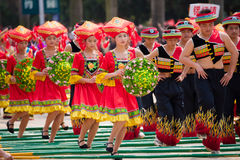 Chinese dancing people in Zhuang ethnic Festival. March 3rd is the Songs Festival of the Zhuang ethnic in Southwest China.Every year in this day,Zhuang ethnic Stock Photography