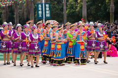 Chinese dancing people in Zhuang ethnic Festival Stock Images