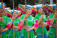 Chinese dancing people in Zhuang ethnic Festival Royalty Free Stock Photo