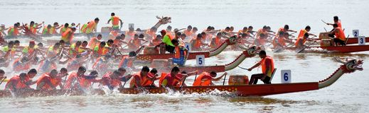 Chinese Dargon boat sport and matching Stock Image