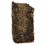 Chinese dark tea with yellow mold aka Golden Flower Gao Jia Shan Fu Zhuan Cha. Closeup royalty free stock image