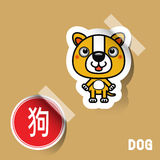 Chinese de hondsticker van het Dierenriemteken Royalty-vrije Stock Foto