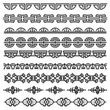Chinese decoratie, traditioneel antiek Koreaans patroon, vector Aziatische naadloze geplaatste grenzen Royalty-vrije Stock Afbeeldingen