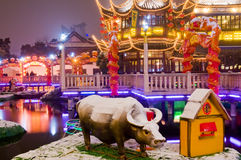 Chinese decoration. Chinese new year decoration in shanghai night stock image