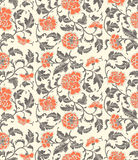 Chinese decorative floral vintage background with flowers. Of peony. Seamless ornamental antique pattern backdrop for fabric, textile, wrapping paper, card vector illustration