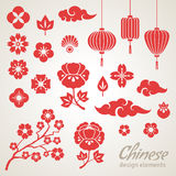 Chinese Decorative Icons, Clouds, Flowers and Stock Photos
