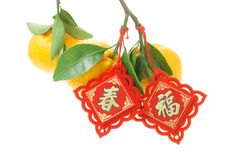 Chinese decorative ornament and mandarin oranges Royalty Free Stock Photo