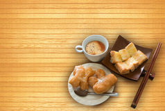 Chinese deep-fried, toast, butter milk, sugar Stock Images
