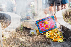 Chinese descendants burnt offering during annual QingMing festival. KUALA LUMPUR, MALAYSIA, April 2, 2016: Chinese descendants burnt offerings to ancestors Stock Images
