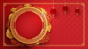 Chinese design with flowers in paper art style. Illustration vector stock illustration
